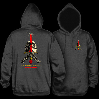 Powell Peralta Skull & Sword Mid Weight Hooded Sweatshirt - Charcoal Heather