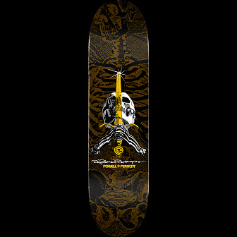 Powell Peralta Skull and Sword Skateboard Deck Brown - Shape 246 - 9.05 x 32.095