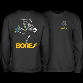 Powell Peralta Skateboard Skeleton Midweight Crewneck Sweatshirt - Black