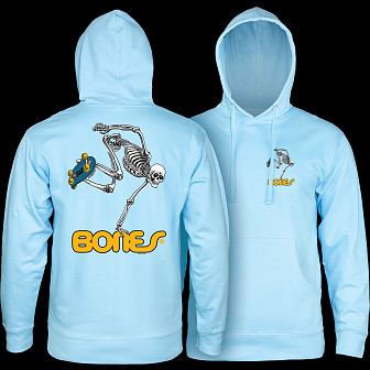 Powell Peralta Skateboarding Skeleton Mid Weight Hooded Sweatshirt - Blue Aqua