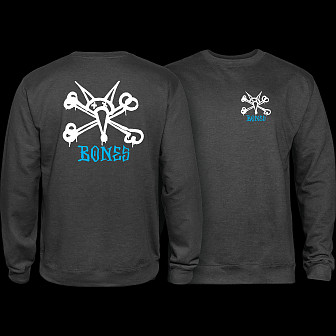 Powell Peralta Rat Bones Midweight Crewneck Sweatshirt - Charcoal Heather