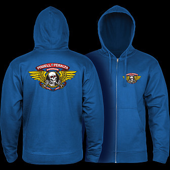 Powell Peralta Winged Ripper Hooded Zip Sweatshirt - Royal Blue