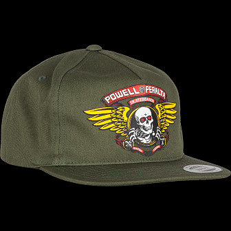 b49a0aa5b07130 Powell Peralta Winged Ripper Patch Snapback Cap Military Green