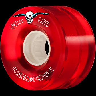 Powell Peralta Clear Cruiser Skateboard Wheel Red 63mm 80A 4pk