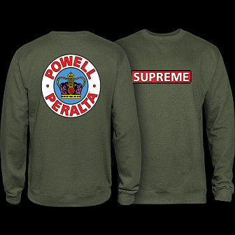 Powell Peralta Supreme Midweight Crewneck Sweatshirt - Army