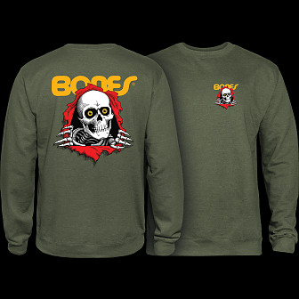Powell Peralta Ripper Mid Weight Crewneck Sweatshirt - Army Heather