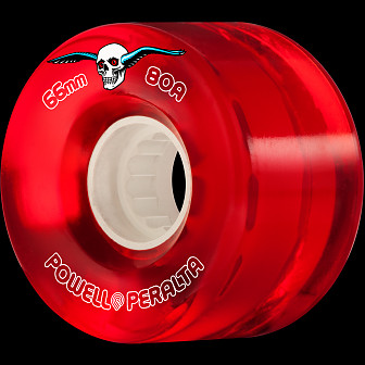 Powell Peralta Clear Cruiser Skateboard Wheel Red 66mm 80A 4pk
