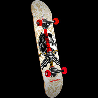 "Powell Peralta Skull and Sword One Off '15"" Skateboard Complete Assembly White - 7.5 x 28.65"
