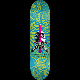 Powell Peralta Skull & Sword Skateboard Deck Blue Green - Shape 243 - 8.25 x 31.95