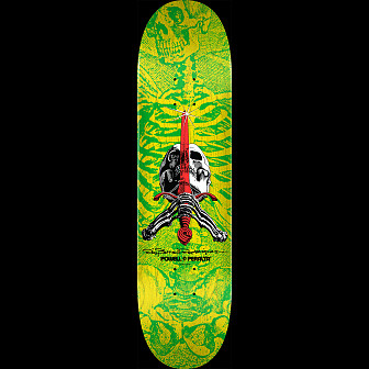 Powell Peralta Skull & Sword Skateboard Deck Yellow Green - 8.5 x 32.08