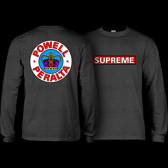 Powell Peralta Supreme L/S Shirt Charocal Heather