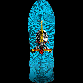 Powell Peralta Geegah Skull and Sword Skateboard Blem Deck Blue - 9.75 x 30