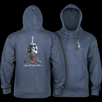 Powell Peralta Skull & Sword Mid Weight Hooded Sweatshirt - Navy Heather