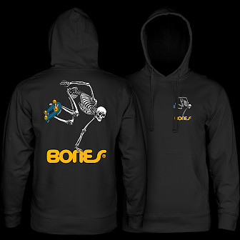 Powell Peralta Skateboarding Skeleton Mid Weight Hooded Sweatshirt - Black