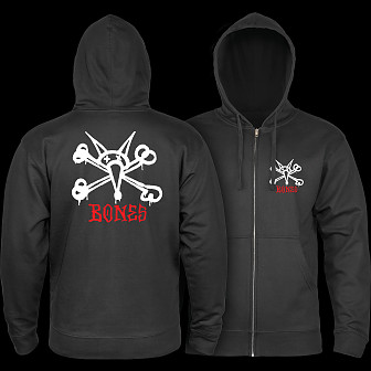 Powell Peralta Rat Bones Hooded Zip Sweatshirt - Black