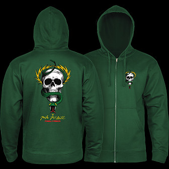Powell Peralta McGill Skull and Snake Hooded Zip Sweatshirt - Alpine Green