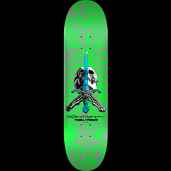 Powell Peralta Skull and Sword Skateboard Deck Green - Shape 247 - 8 x 31.45