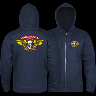 Powell Peralta Winged Ripper Zip Hooded Sweatshirt Navy