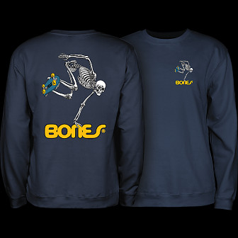 Powell Peralta Skateboard Skeleton Crew Sweatshirt Mid Weight Navy