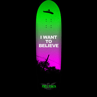 Powell Peralta Funshape Believe 3 Skateboard Deck Green/Purple - 8.6 x 31.84