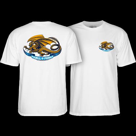 Powell Peralta OVAL DRAGON Skateboard T Shirt ASH GREY MEDIUM