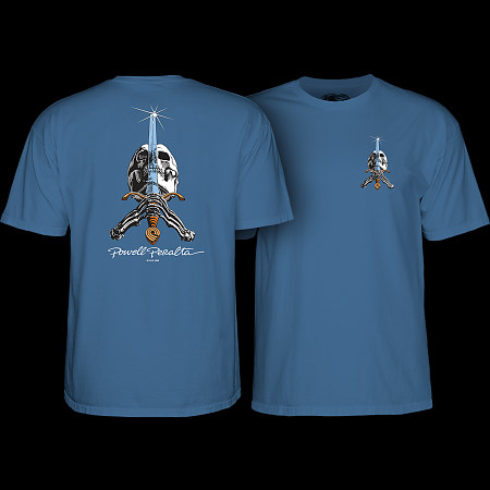 Powell Peralta TRIPLE P SKULL AND SWORD Skateboard Shirt WHITE LARGE