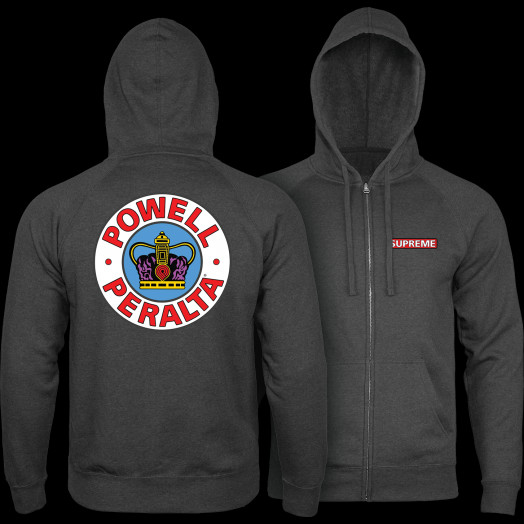 Powell Peralta Supreme Hooded Zip Sweatshirt - Charcoal Heather