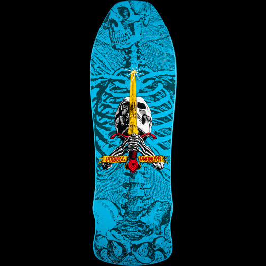 Powell Peralta Geegah Skull and Sword Skateboard Deck Blue - 9.75 x 30