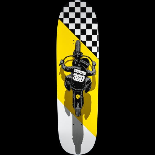 Powell Peralta Caballero Flat Track Skateboard Deck Funshape 203B K21 Yellow - 8.7 x 31.72
