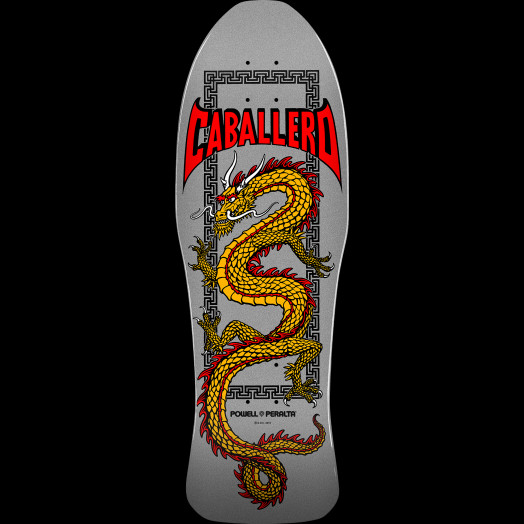 Powell Peralta Caballero Chinese Dragon Skateboard Deck Silver - 10 x 30