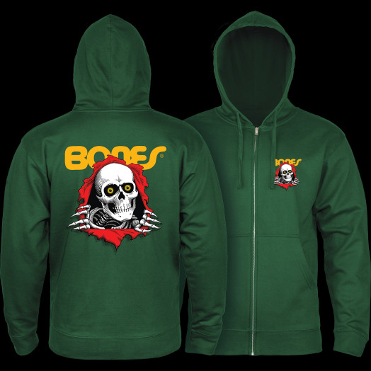 Powell Peralta Ripper Hooded Zip Sweatshirt - Alpine Green
