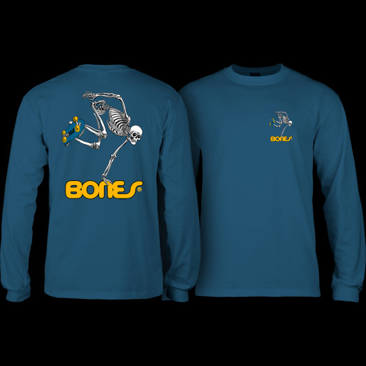 Powell Peralta Skateboarding Skeleton YOUTH L/S - Harbor Blue