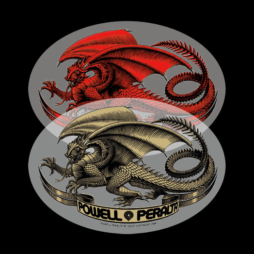 Powell Peralta Oval Dragon Sticker (Singles) - Red and Gold
