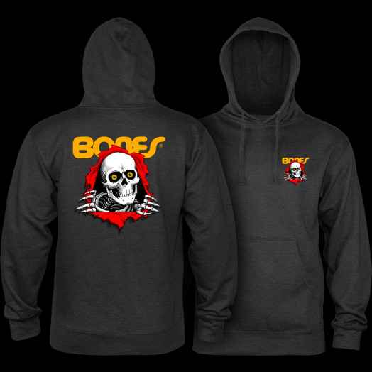 Powell Peralta Ripper Hooded Sweatshirt mid Weight Charcoal Heather
