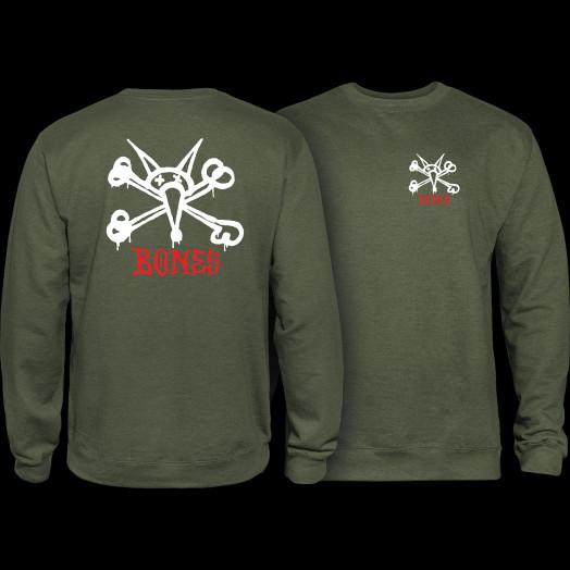 Powell Peralta Rat Bones Midweight Crewneck Sweatshirt - Army