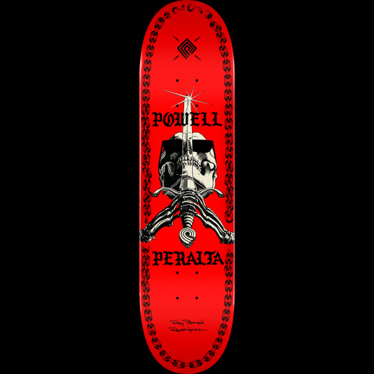 Powell Peralta Skull And Sword Chainz Skateboard Deck Red - Shape 247 - 8 x 31.45