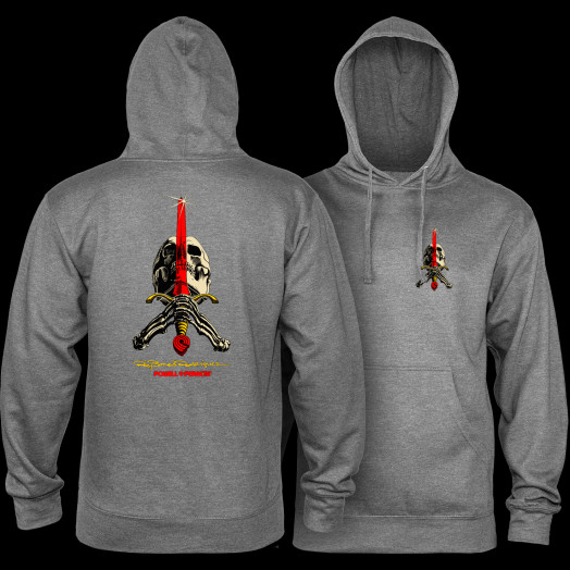 Powell Peralta Skull & Sword Mid Weight Hooded Sweatshirt - Gunmetal Heather