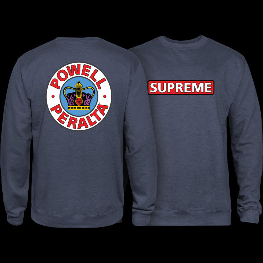 Powell Peralta Supreme Mid Weight Crewneck Sweatshirt - Navy Heather