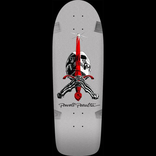 Powell Peralta Ray Rodriguez Skull and Sword OG Skateboard Blem Deck Silver - 10 x 30