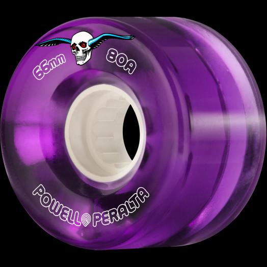 Powell Peralta Clear Cruiser Skateboard Wheels Purple 66mm 80A 4pk
