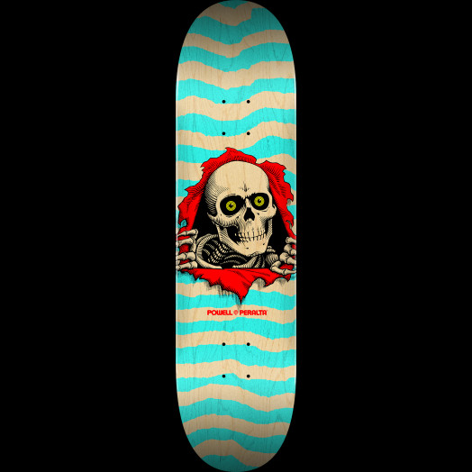 Powell Peralta Ripper Skateboard Deck Natural Turquoise - Shape 242 - 8 x 31.45