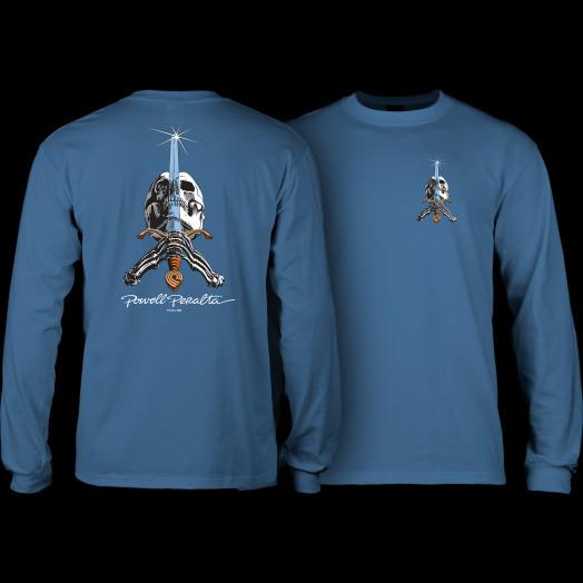 Powell Peralta Skull and Sword L/S T-shirt Slate Blue