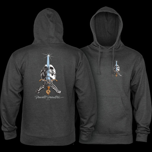 d48190020797 Powell Peralta Skull   Sword Hooded Sweatshirt Charcoal