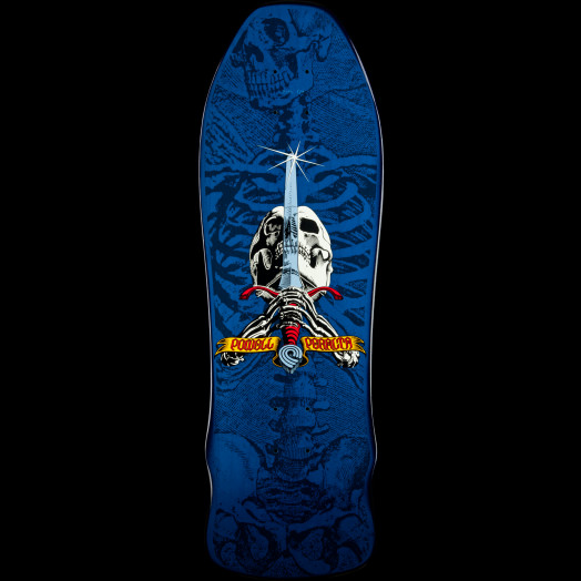 Powell Peralta Rodriguez Geegah Skull and Sword Skateboard Deck Blue - 9.75 x 30