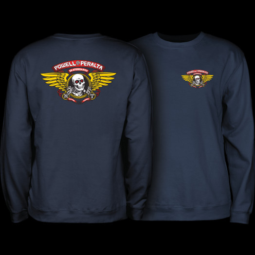 Powell Peralta Winged Ripper Midweight Crewneck Sweatshirt - Navy