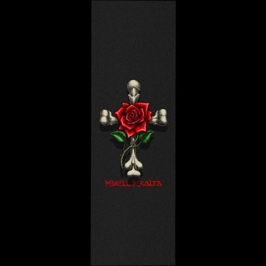 Powell Peralta Grip Tape Sheet 10.5  x 33 Rose Cross (Black)