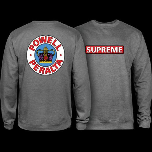 Powell Peralta Supreme Midweight Crewneck Sweatshirt - Gunmetal