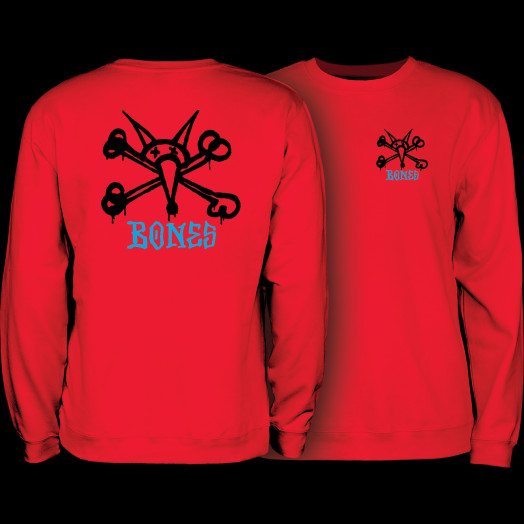 Powell Peralta Rat Bones Midweight Crewneck Sweatshirt - Red
