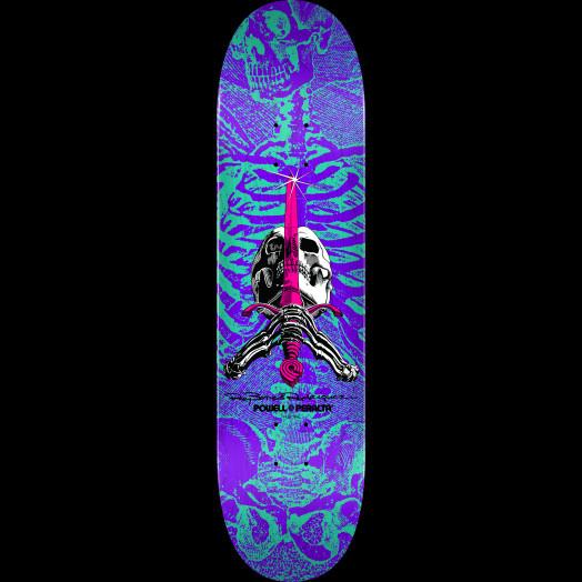 Powell Peralta Skull & Sword Blem Skateboard Deck Turq/Purple 248 K20 - 8.25 x 31.95