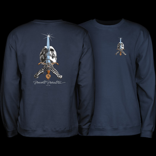Powell Peralta Skull & Sword Midweight Crewneck Sweatshirt - Navy
